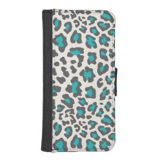 Leopard Print Aqua, Gray, White iPhone 5 Wallet