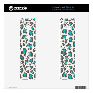 Leopard Print Aqua, Gray, White Decal For The Wii Remote