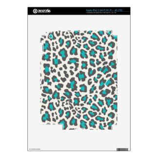 Leopard Print Aqua, Gray, White Skins For iPad 3