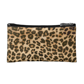Leopard Print Background Cosmetic Bag