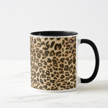 Coffee Themed Leopard Print Background Mug