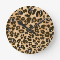 Leopard Print Background Round Clock