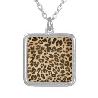 Leopard Print Background Square Pendant Necklace