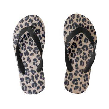 Beach Themed Leopard Print Beach Flip Flops For Kids