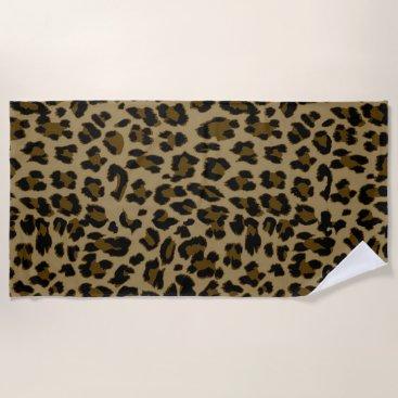 Beach Themed Leopard Print Beach Towel