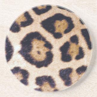 Leopard Print Big Cat Real Fur Pattern Coaster
