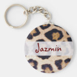 Leopard Print Big Cat Real Fur Pattern Design Keychain