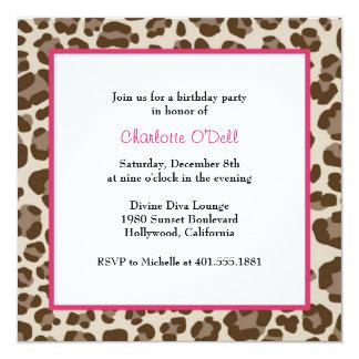 leopard print birthday party custom invite