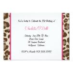 leopard print birthday party 5x7 paper invitation card