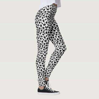 Leopard Print - Black and White Leggings