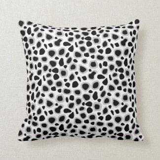 leopard print black and white throw pillow