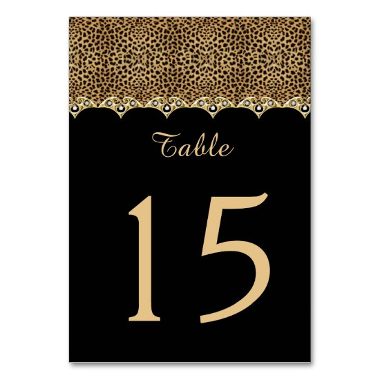 Leopard Print Black Gold and Diamonds Table Cards