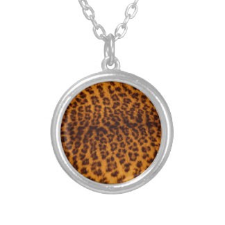 Leopard print black spotted Skin Texture Template Silver Plated Necklace