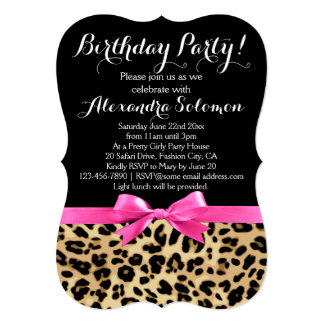Leopard Print Black w/ Hot Pink Bow Birthday Party Card