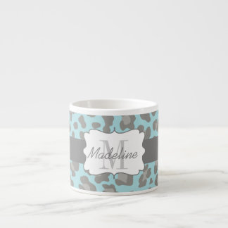 Leopard Print Blue and Gray Espresso Mug