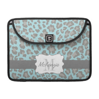 Leopard Print Blue and Gray MacBook Pro Sleeve