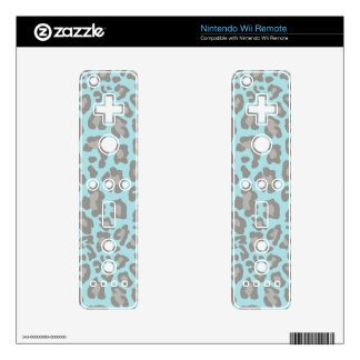 Leopard Print Blue and Gray Wii Remote Skin