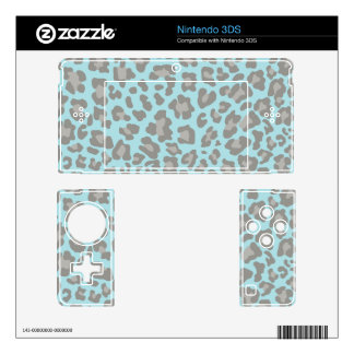 Leopard Print Blue and Gray Skin For Nintendo 3DS