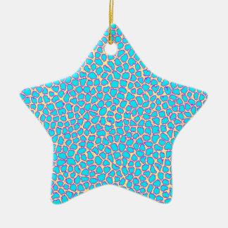 Leopard Print Blue on Yellow Ceramic Ornament
