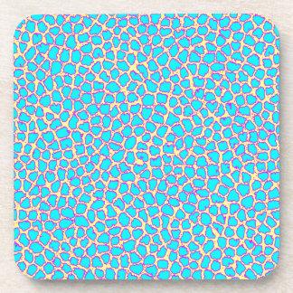 Leopard Print Blue on Yellow Beverage Coaster