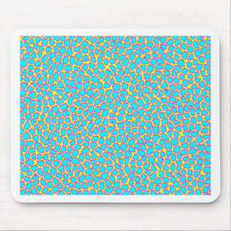 Leopard Print Blue on Yellow Mouse Pad
