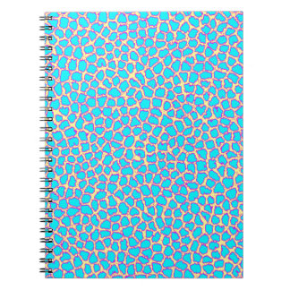 Leopard Print Blue on Yellow Spiral Note Book