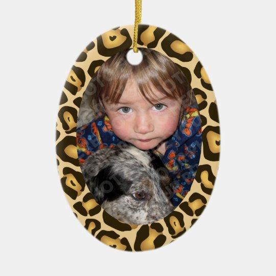 Leopard Print Border Frame Christmas Ornament