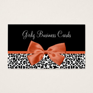 Leopard Print Boutique Trendy Burnt Orange Ribbon Business Card