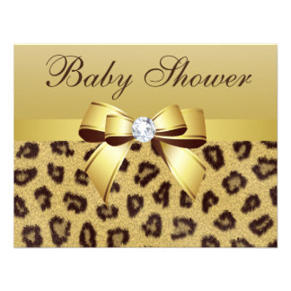 Leopard Print Bow Diamond Baby Shower Personalized Announcement