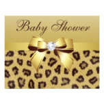 Leopard Print, Bow & Diamond Baby Shower Personalized Announcement