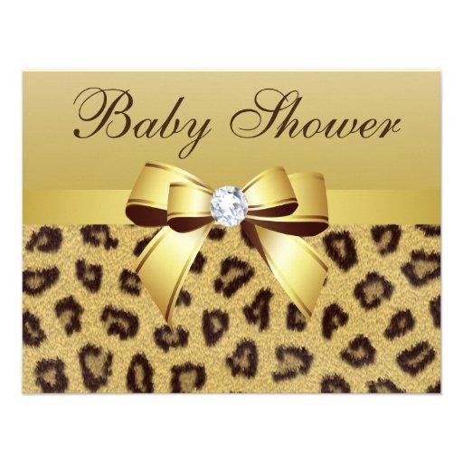 leopard print bow diamond baby shower paper invitation