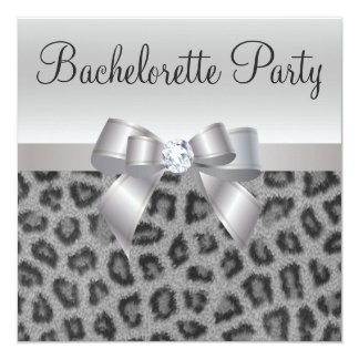 "Leopard Print, Bow & Diamond  Bachelorette Party 5.25"" Square Invitation Card"
