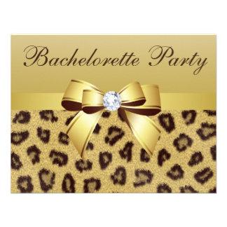Leopard Print Bow Diamond Bachelorette Party Invites