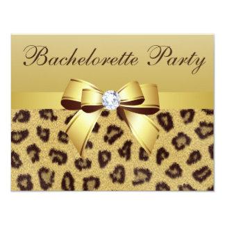Leopard Print, Bow & Diamond  Bachelorette Party 4.25x5.5 Paper Invitation Card
