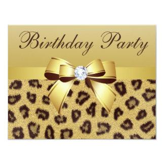 Leopard Print, Bow & Diamond Birthday Party Card