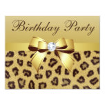 Leopard Print, Bow & Diamond Birthday Party Personalized Announcement