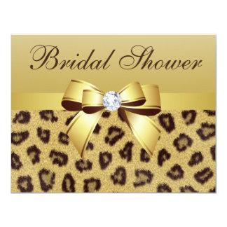 Leopard Print, Bow & Diamond  Bridal Shower Card