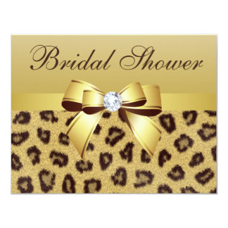 Leopard Print, Bow & Diamond  Bridal Shower 4.25x5.5 Paper Invitation Card