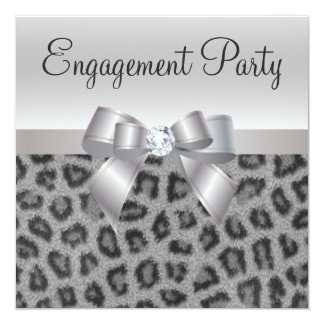 Leopard Print, Bow & Diamond  Engagement Party Card
