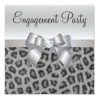 "Leopard Print, Bow & Diamond  Engagement Party 5.25"" Square Invitation Card"
