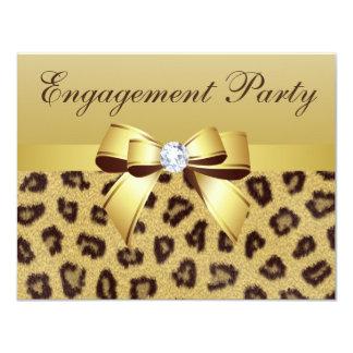 Leopard Print, Bow & Diamond  Engagement Party 4.25x5.5 Paper Invitation Card