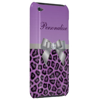 Leopard Print, Bow & Diamond Personalized Barely There iPod Case