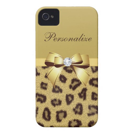 Leopard Print, Bow & Diamond Personalized iPhone 4 Covers