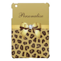 Leopard Print, Bow & Diamond Personalized Case For The iPad Mini