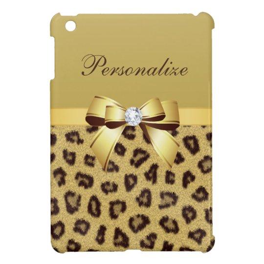 Leopard Print, Bow & Diamond Personalized Case For The iPad Mini