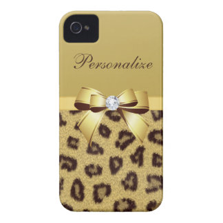 Leopard Print, Bow & Diamond Personalized iPhone 4 Case