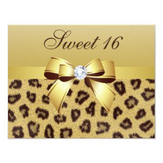 Leopard Print, Bow & Diamond Sweet 16 Card
