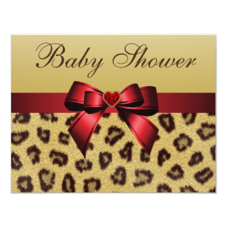 Leopard Print, Bow & Heart Baby Shower Card