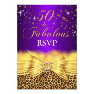 Leopard Print & Bow Purple 50 & Fabulous RSVP Card