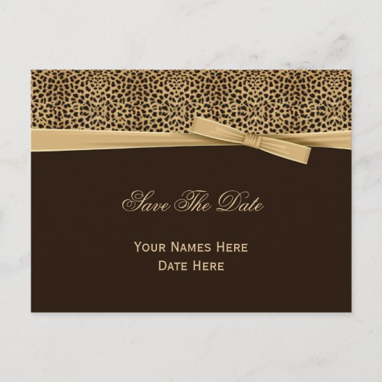 Leopard Print Bow Ribbon Dark Brown Save The Date Announcement Postcard